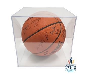 basketball in glass case